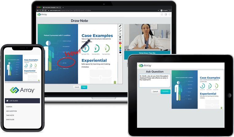 array content engagement solution for life sciences shown on phone, tablet and desktop